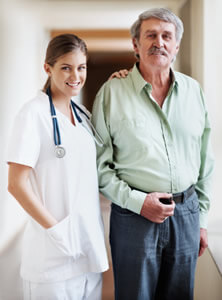 Senior Male with nurse aid